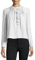 Isabel Marant Long-Sleeve Pintuck-Ruffle Blouse, Chalk