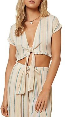 O'Neill Oriana Striped Tie Front Cropped Top