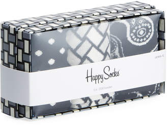 Happy Socks Men's Black & White Socks, Set of 3