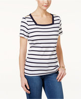 Karen Scott Cotton Striped Square-Neck Top, Only at Macy's