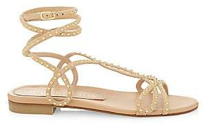 Stuart Weitzman Women's Leya Flat Ankle-Wrap Studded Leather Sandals