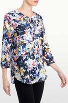 NYDJ Hepburn Shadow Floral Print 3/4 Sleeve Blouse In Petite