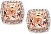 Effy Morganite (2-3/4 ct. t.w.) and Diamond (1/5 ct. t.w.) Stud Earrings in 14k Rose Gold