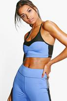 boohoo Katie Fit Seamless Mesh Sports Bra purple