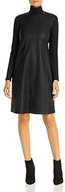 Marella Ordito Faux-Leather Turtleneck Dress