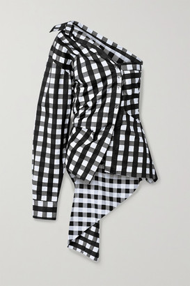Marques Almeida One-sleeve Asymmetric Checked Cotton-poplin Top - Black