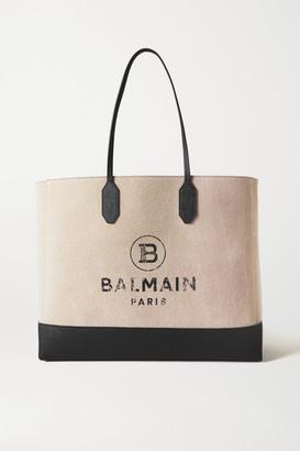 Balmain Medium Printed Canvas And Leather Tote - Beige