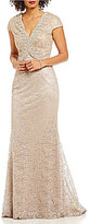 Terani Couture Metallic Lace V-Neck Cap Sleeve Gown