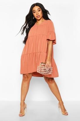 boohoo Plus Ruched Detail Smock Dress