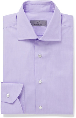 Canali Cutaway-Collar End-On-End Cotton Shirt