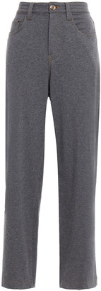 Brunello Cucinelli Melange French Cotton-blend Terry Wide-leg Pants