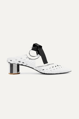 Proenza Schouler Eyelet-embellished Woven Leather Mules - White