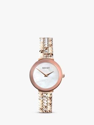 Sekonda 2950 Women's Seksy Swarovski Crystal Bracelet Strap Watch, Silver/Rose Gold