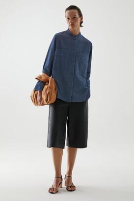 Cos Organic Cotton Denim Grandad Collar Overshirt