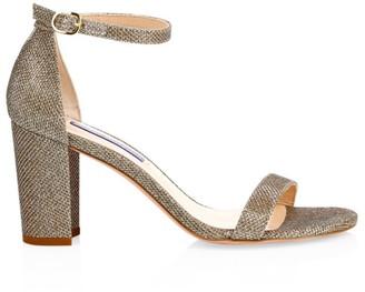 Stuart Weitzman Nearlynude Block-Heel Glitter Sandals