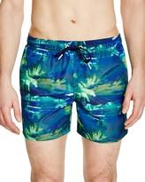 Sundek Elastic Waist Palm Print Swim Shorts