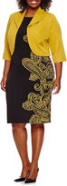 MAYA BROOKE Maya Brooke 3/4-Sleeve Paisley Jacket Dress - Plus