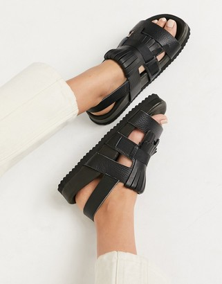 Selected leather chunky sandal in black