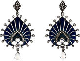 Arunashi Enamel, Diamond & Moonstone Earrings