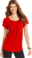 Style&Co. Style & Co Petite Pleated-Neck Top, Only at Macy's