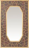 Global Views Wooden Panel Mirror, Brown/Brass