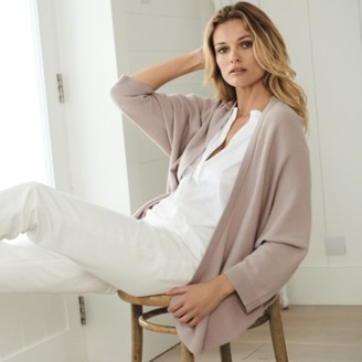The White Company Wide Wrap Front Cardigan , Mink, Extra Small