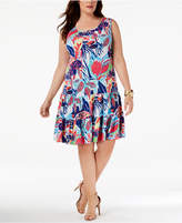 MSK Plus Size Printed Tiered Dress