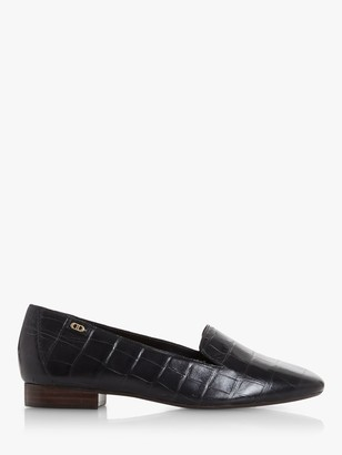 Dune Gael Square Toe Leather Loafers, Black Croc