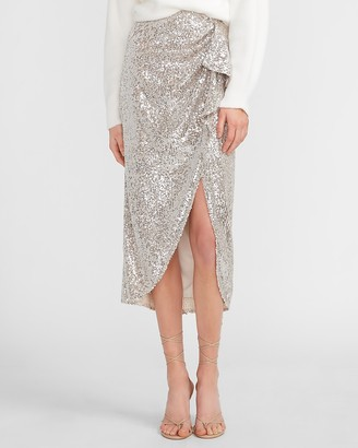 Express High Waisted Sequin Wrap Midi Skirt