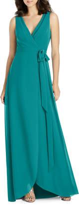 Jenny Packham V-Neck Sleeveless Matte Chiffon Wrap Bridesmaid Gown