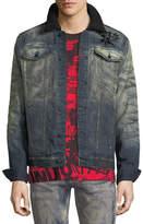 PRPS Flower-Embroidered Denim Jacket
