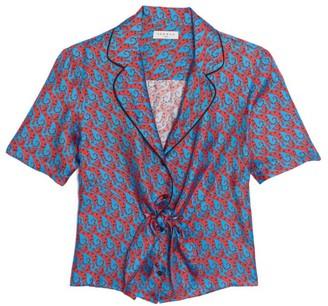 Sandro Caty Printed Silk Shirt