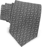 Moschino Print Black & Gray Jacquard Silk Tie