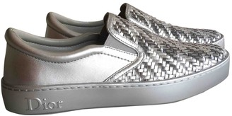 Christian Dior Silver Leather Trainers