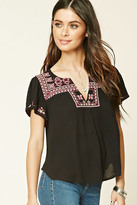 Forever 21 FOREVER 21+ Embroidered Gauze Top