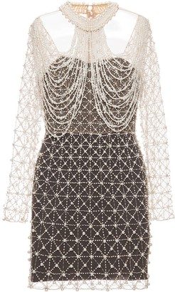 PatBO Hand-Beaded Pearl Mini Dress