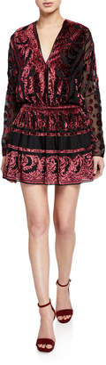 Ramy Brook Clarice Paisley Velvet Burnout Long-Sleeve Mini Dress