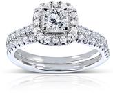 Kobelli Jewelry 8/9 CT TW Diamond 14K White Gold Halo Bridal Set