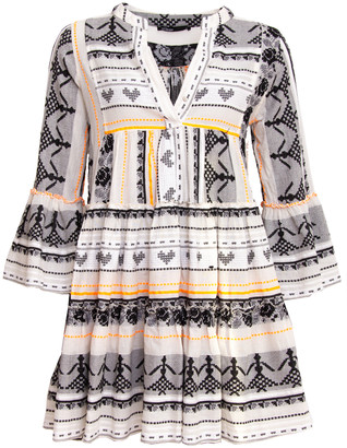 Devotion Short Aztek Dress Orange/ White - XS