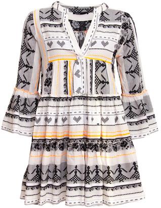 Devotion Short Aztek Dress Orange/ White - S