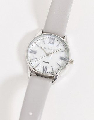 Bellfield watch with grey strap and silver dial
