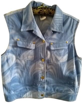 Escada Blue Cotton Top for Women Vintage