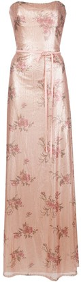Marchesa floral-printed sequin gown