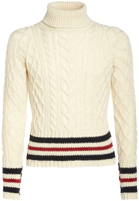 Thom Browne Wool Aran Cable Knit Turtleneck Sweater