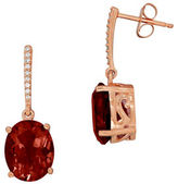 Lord & Taylor 14K Rose Gold Garnet and Diamond Drop Earrings, 0.54 TCW