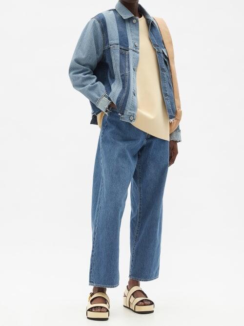 Thumbnail for your product : Kuro Asymmetric High-rise Straight-leg Jeans - Denim