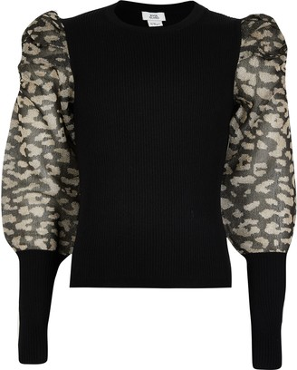 River Island Girls Black sheer leopard puff sleeve jumper
