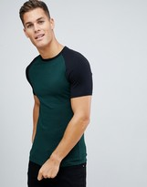 Asos Design DESIGN muscle fit crew neck t-shirt and contrast raglan in green