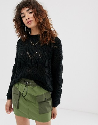 Only stitch detail knitted jumper-Black