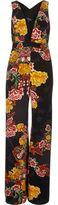 River Island Womens Black floral print plunge jumpsuit